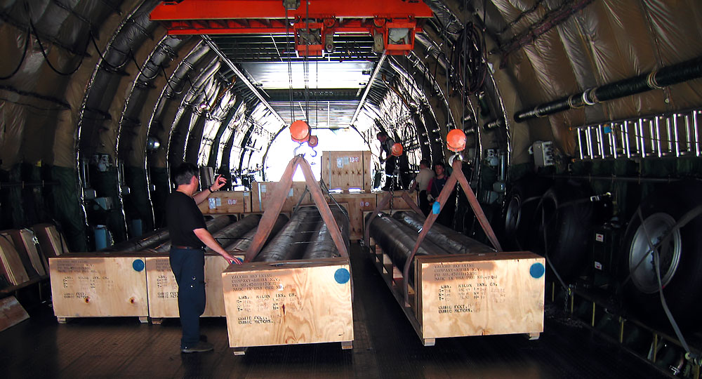 Freight inside airplane